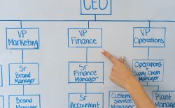 Finger pointing to org chart